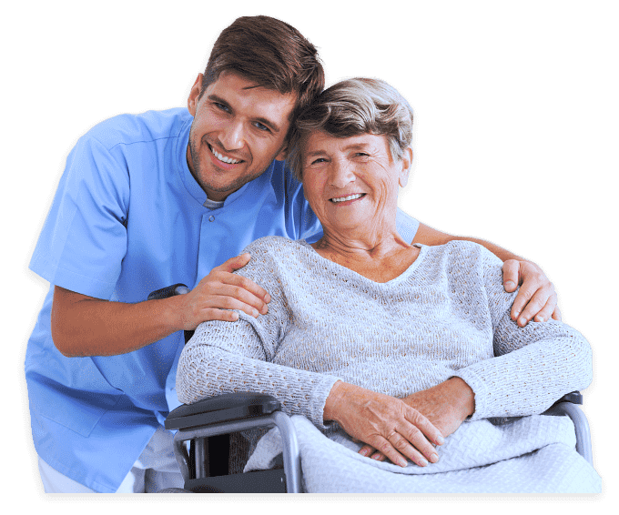 caregiver and senior woman on the wheelchair are smiling